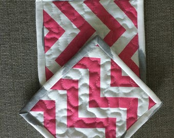 kitchen potholders, Fabric Potholders, Contemporary Potholders,gray and blue , 7 x 6,5 inch,pink and grey