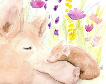 MOTHER PIG PRINT- piglet, pig nursery, Pig Print, Pig painting, Farm art, Farm painting, Farm animal prints, Pig art, Farm animal, Pig decor