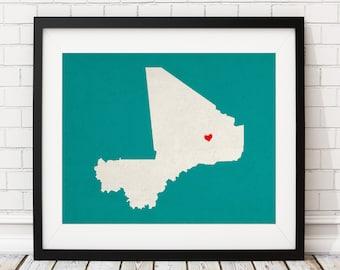 Custom Mali Silhouette Print, Customized Country Map Art, Personalized Gift, Mali Art, Heart Map, Mali Map, Love Map, Home Country Print
