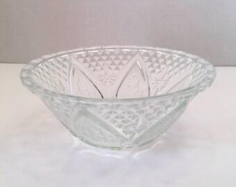 Vintage KIG Indonesia Glass Bowl Rose and Leaf Pattern Fleur de Lis Pattern