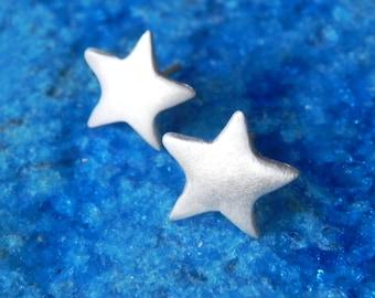 Sterling silver star stud earrings gift for her stocking stuffers Christmas