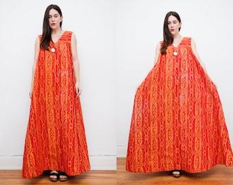 Vintage 70's Indian Cotton Batik Kaftan Smock Maxi Dress RARE 70's
