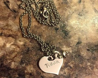 Name and Birthstone Necklace