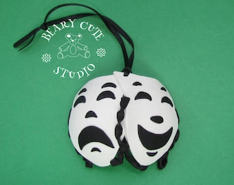 Comedy and Tragedy Christmas Ornament, Drama Ornament, Mask ornament