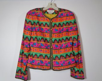 90s Vintage! Colorful Silk Print Cropped Blazer Jacket with Shoulder Pads, Nineties Retro Fashion Style Aesthetic