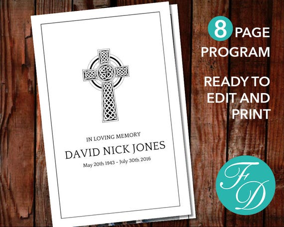 Printable Funeral Program Template Catholic Cross