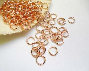50/100 Rose Gold Plated Jump Rings 7mm, Open Loop - 9-RG-7OL