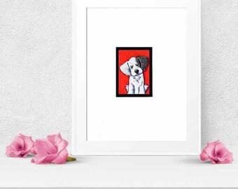Matted ORIGINAL Art English Setter Dog ACEO
