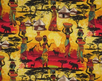 REMNANT--African Ladies Scenic Kenta Print Pure Cotton Fabric--30 INCHES
