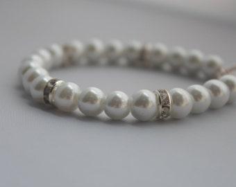 White Pearl Bracelet, Bridal Pearl Bracelet, Bridal Jewellery