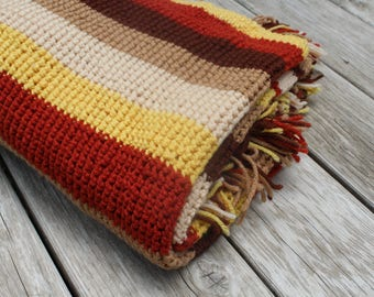 Vintage Crocheted Afghan Fall Autumn Blanket Lap Throw Stripes Harvest Colors Brown Rust Mustard Gold Beige Warm Home Decor