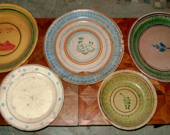 5 antique plates decorated ceramic
