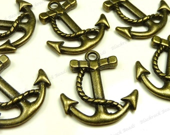 Bulk 30 Boat Anchor Charms - Antique Bronze Tone Metal - 22x20mm - Nautical Pendants, Boating Charms - BT5