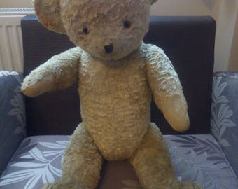 Antique/Vintage Pensive Teddy Bear, 1940s, Glass eyes, 24.80 inches