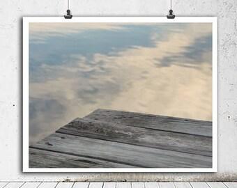 Lake art dock art print, large modern photo, white grey blue art lake photography print, nautical art print, lake cottage decor minimal art