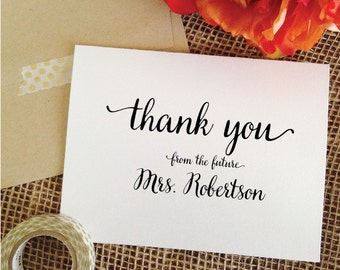 Thank you card for Bridal Shower cards wedding Thank You Card Personalized Wedding Cards Thank Yous From the Future Mrs card Thank you