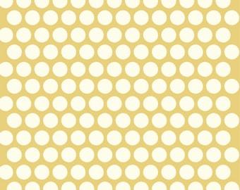 Organic Yellow Polka Dot Fabric - Birch Dottie 1/2 Yard