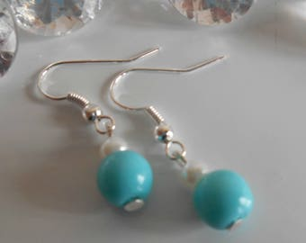 Duo of Turquoise and white pearls wedding earrings