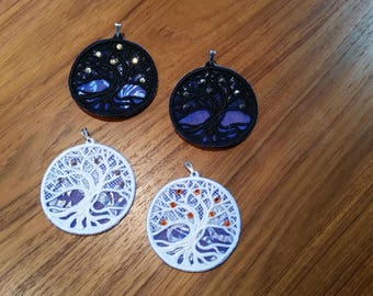 Embroidered Tree of Life pendant