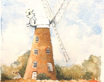 English windmill with poppies original watercolour