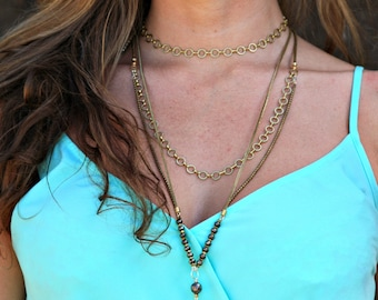 Statement Necklace 32''  long chain, White Marble Long Drop Pendant, Pyrite Beaded Necklace, Snake Brass Chain, Long Gold Necklace With Tear