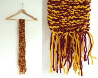 striped scarf, hand knit scarf, burgundy red gold yellow, fringe scarf, long scarf, handmade scarf, fall scarf, winter scarf