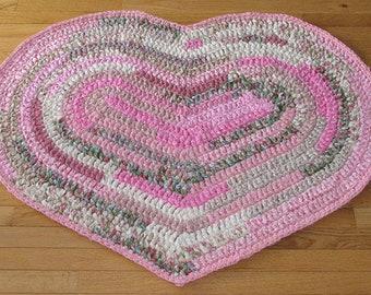 Rugs Rag Rugs Handmade Crocheted Heart Shaped Pink Green Cream White Home Decor Nursery Rug Accent Rug Throw Rug Pretty Rug Cotton Fabric