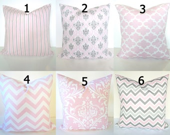 PINK PILLOWS Pink Throw Pillows Pink Pillow Covers 18x18 16 20 Gray Baby Pink Chevron Pillow Covers Sale Grey baby Girl Nursery Baby Bedding