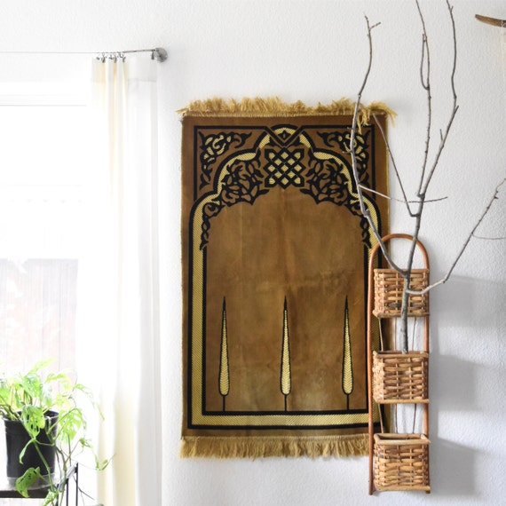 long woven rattan wall hanging basket shelf / wall pocket