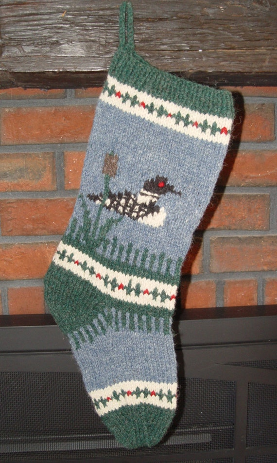 Loon Christmas Stocking Pattern To Knit Your Own