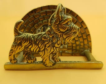 Vintage Brass Letter Rack with Scottie Dog and Fireplace Art Deco c1930s Paper Napkin Holder