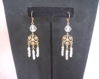 Handmade Vintage Assemblage Earrings Antique Cut Clear Glass Beads Antique Gold Filigree Victorian Style