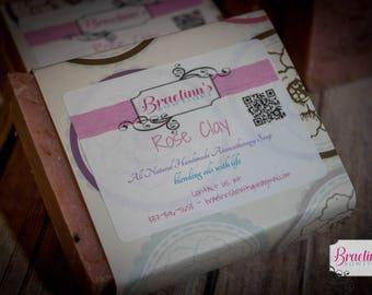 All Natural, Vegan Friendly, Herbal Rose Clay Soap