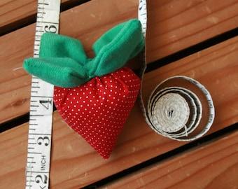 Strawberry baby rattle, fruit rattle, handmade plush toy