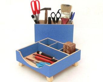 Blue Desk Organizer, Box Set, Wooden desk set, Blue Boxes, Office Accessories, Wood desktop organizer,Blue  Unique gift, Back to school