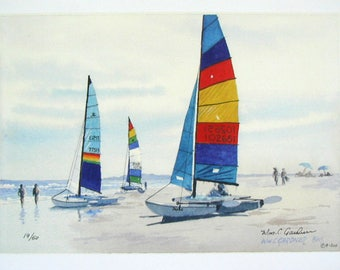 """Watercolor Limited Ed. Print  Hobie Cat  V  approx. 11"""" x 14"""" ( mats up to 16"""" x 20"""" )"""