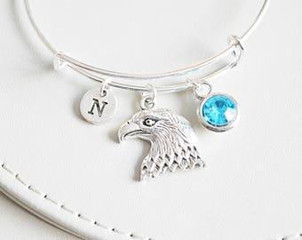 Eagle Bracelet, Silver Eagle Charm, Eagle Jewelry, Eagle Bangle, Bird bracelet, Trendy bracelets, Trendy Gifts, Trendy jewelry, Pegan