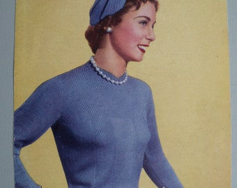 Vintage Knitting Pattern 1950s Women's Sweater Jumper Gloves Hat Accessories 50s original pattern Weldons No. B1249 UK