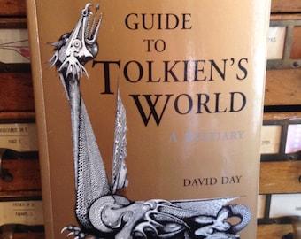 Guide pour le monde de Tolkien, un bestiaire par David Day, J.R.R. Tolkien, livre Vintage, Tolkien lettré, 1970, collection livre, Seigneur des anneaux