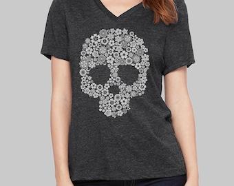 Day of the Dead, V Neck T Shirt, Skull Shirt, v neck shirt, women, v neck tshirt, womens, graphic tees, v neck, screen print shirt
