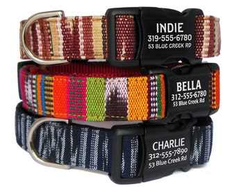 Personalized Dog Collar with a Laser Engraved Buckle - Tribal Southwest Boho Dog Collar - Ikat Dog Collar ID Tag - Personalized Collar