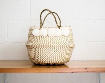Cloud Pompoms Basket - Belly Basket - Seagrass Basket - Rice Basket