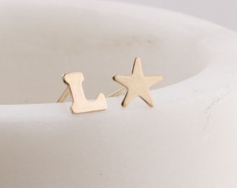 Gold Filled Initial Earring with Moon, Star, Heart, Tiny Gold Earrings, Silver, Gold or Rose Gold Earrings, Geometric Studs, Initial Earring