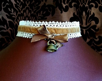 Steampunk Tea necklace 'Brown and Velvet Brew' Choker Neo Victorian themed gift