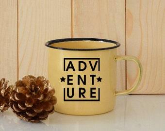 Adventure mug, Enamel Camping Mug