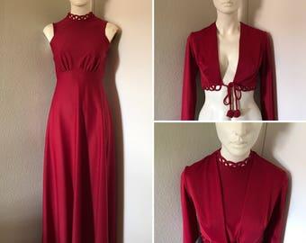 vintage goddess princess dress empire waist maxi dress lattice details wine with crop jacket set Victorian romantic inspired XS
