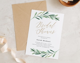 Bridal Shower Invitation, Printable Bridal Shower Template, Greenery Bridal Shower | Edit in Word or Pages