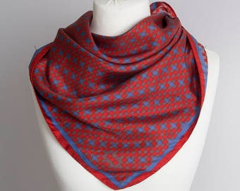 "vintage Square scarf, geometric scarf, silk scarf, fabric women scarf shawl 85cm / 33"" checkered plaid scarf, navy blue red"