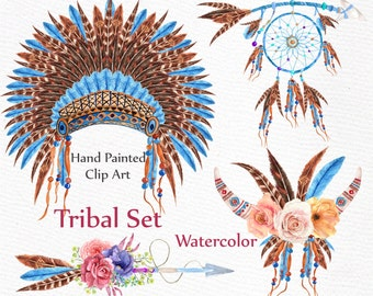 "Watercolor tribal clipart: ""TRIBAL CLIP ART"" dreamcatcher headdress  Boho clipart arrows feathers Diy clipart indian clipart wedding clipart"