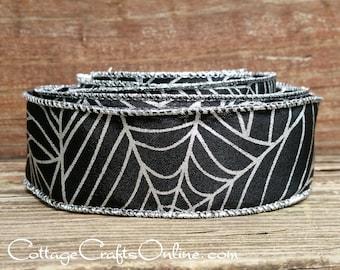 "Halloween Wired Ribbon, 1 1/2"" Black Spider Web Print  - TEN YARD ROLL -  Silver Metallic Web Print on Faux Linen Craft Wire Edged Ribbon"